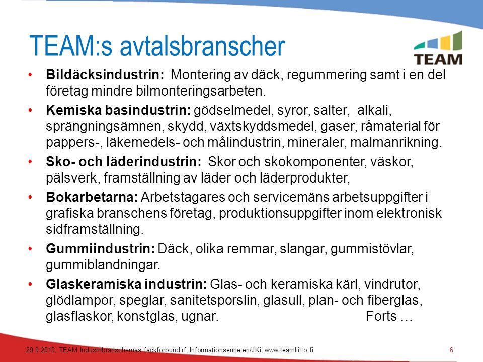 TEAM:s avtalsbranscher Bildäcksindustrin: Montering av däck, regummering samt i en del företag mindre bilmonteringsarbeten.