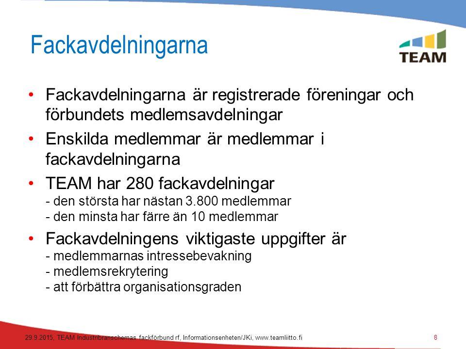 De tio största fackavdelningarna 09/2015 29.9.2015, TEAM Industribranschernas fackförbund rf, Informationsenheten/JKi, www.teamliitto.fi9