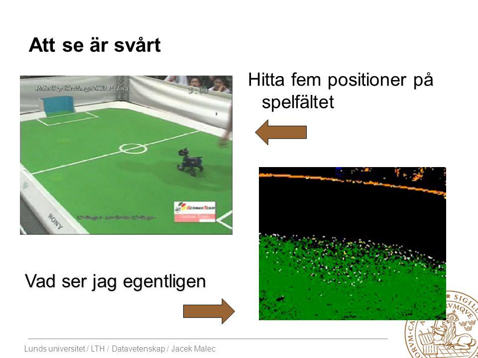Lunds universitet / LTH / Datavetenskap / Jacek Malec Att se är svårt Hitta fem positioner på spelfältet Vad ser jag egentligen