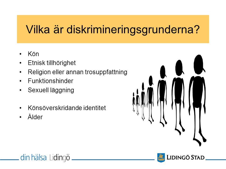 Vilka är diskrimineringsgrunderna? Kön Etnisk tillhörighet Religion eller annan trosuppfattning Funktionshinder Sexuell läggning Könsöverskridande ide