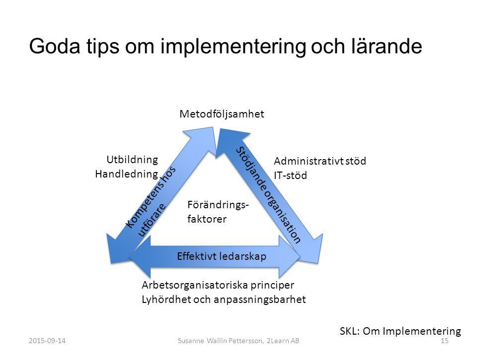 Goda tips om implementering och lärande Susanne Wallin Pettersson, 2Learn AB15 Kompetens hos utförare Stödjande organisation Effektivt ledarskap Förän