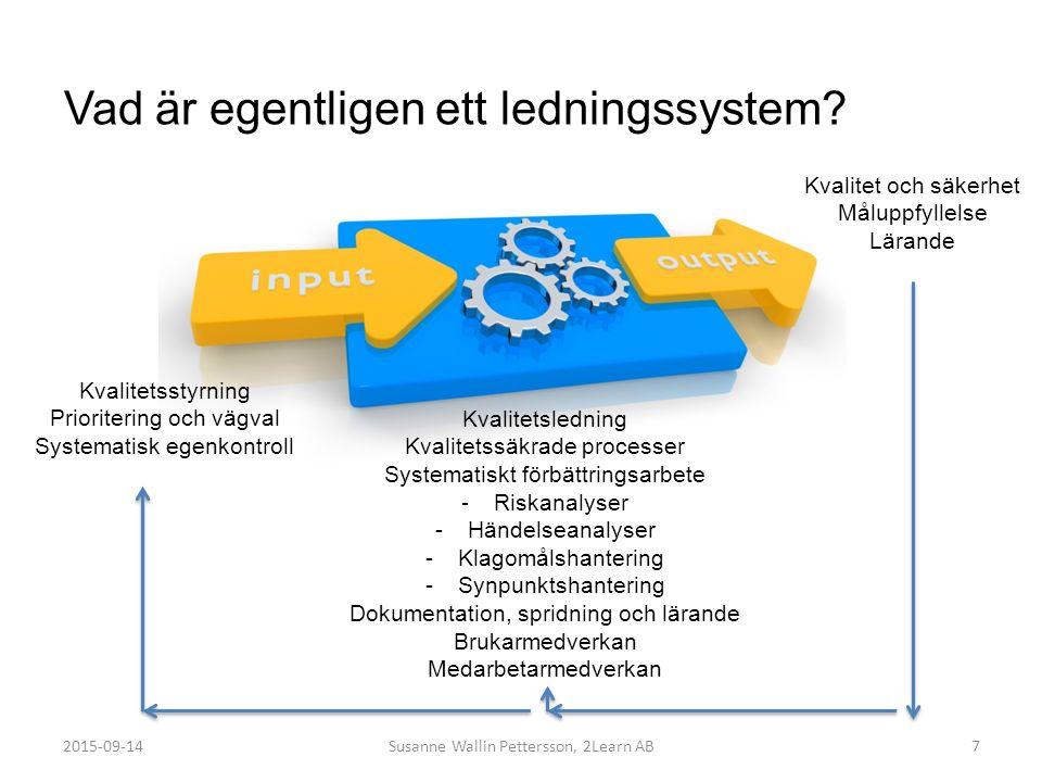 Vad är egentligen ett ledningssystem? 7 Kvalitetsledning Kvalitetssäkrade processer Systematiskt förbättringsarbete -Riskanalyser -Händelseanalyser -K