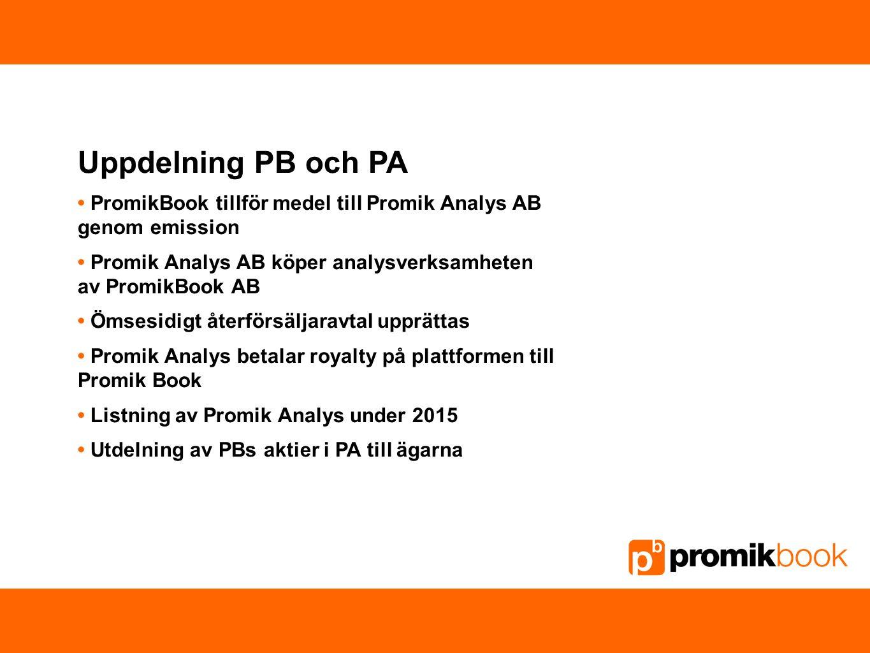 Uppdelning PB och PA PromikBook tillför medel till Promik Analys AB genom emission Promik Analys AB köper analysverksamheten av PromikBook AB Ömsesidi
