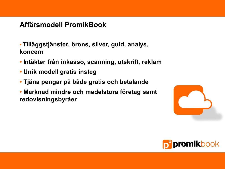 Affärsmodell PromikBook Tilläggstjänster, brons, silver, guld, analys, koncern Intäkter från inkasso, scanning, utskrift, reklam Unik modell gratis in