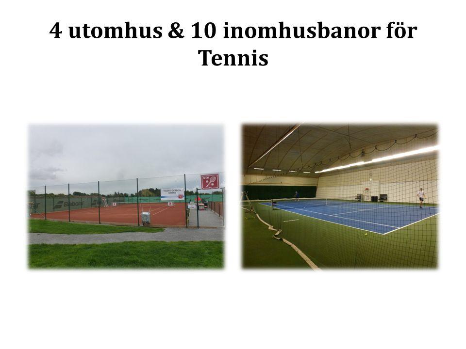 4 utomhus & 10 inomhusbanor för Tennis