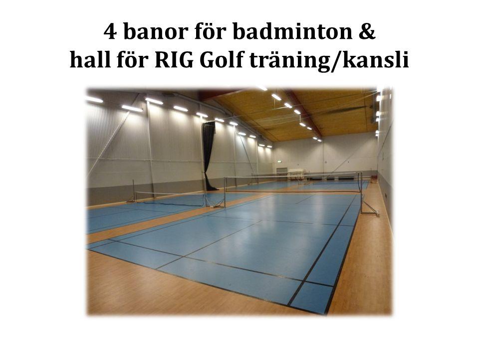 4 banor för badminton & hall för RIG Golf träning/kansli