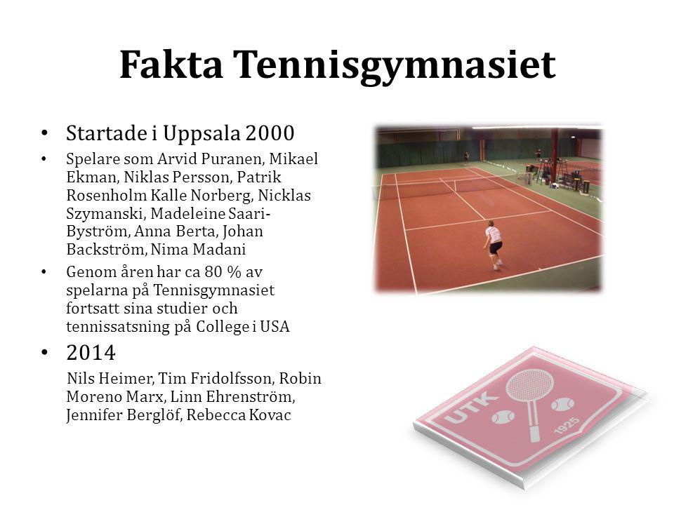 Fakta Tennisgymnasiet Startade i Uppsala 2000 Spelare som Arvid Puranen, Mikael Ekman, Niklas Persson, Patrik Rosenholm Kalle Norberg, Nicklas Szymans