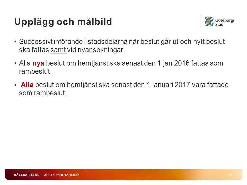 Upplägg och målbild 11 HÅLLBAR STAD – ÖPPEN FÖR VÄRLDEN Successivt införande i stadsdelarna när beslut går ut och nytt beslut ska fattas samt vid nyan