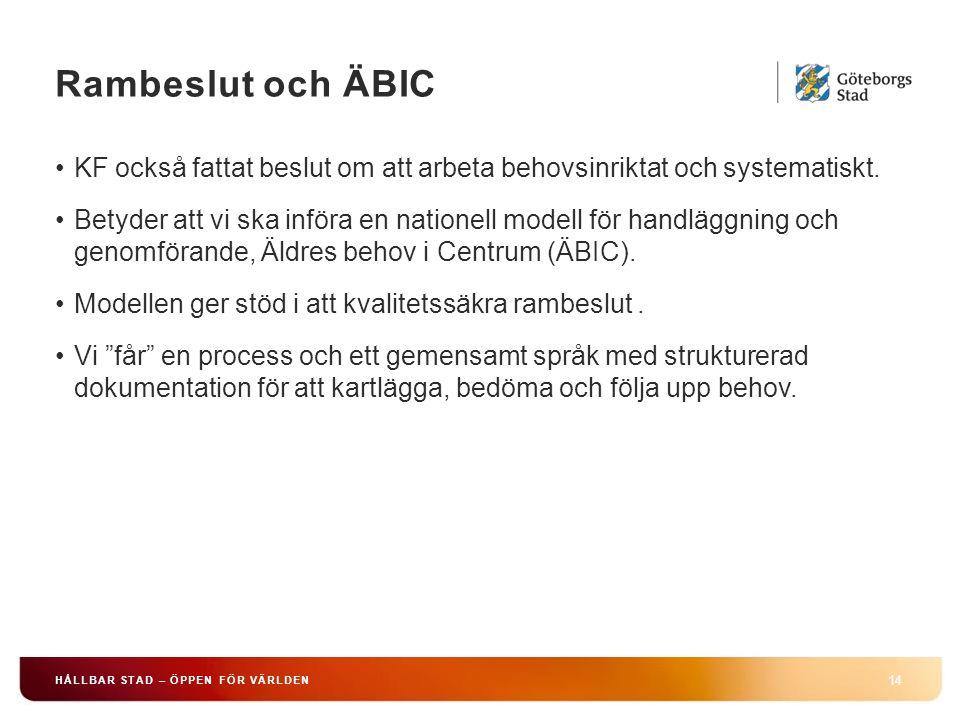 Rambeslut och ÄBIC 14 HÅLLBAR STAD – ÖPPEN FÖR VÄRLDEN KF också fattat beslut om att arbeta behovsinriktat och systematiskt. Betyder att vi ska införa