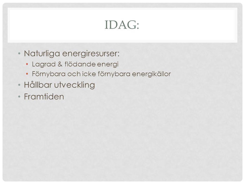 IDAG: Naturliga energiresurser: Lagrad & flödande energi Förnybara och icke förnybara energikällor Hållbar utveckling Framtiden