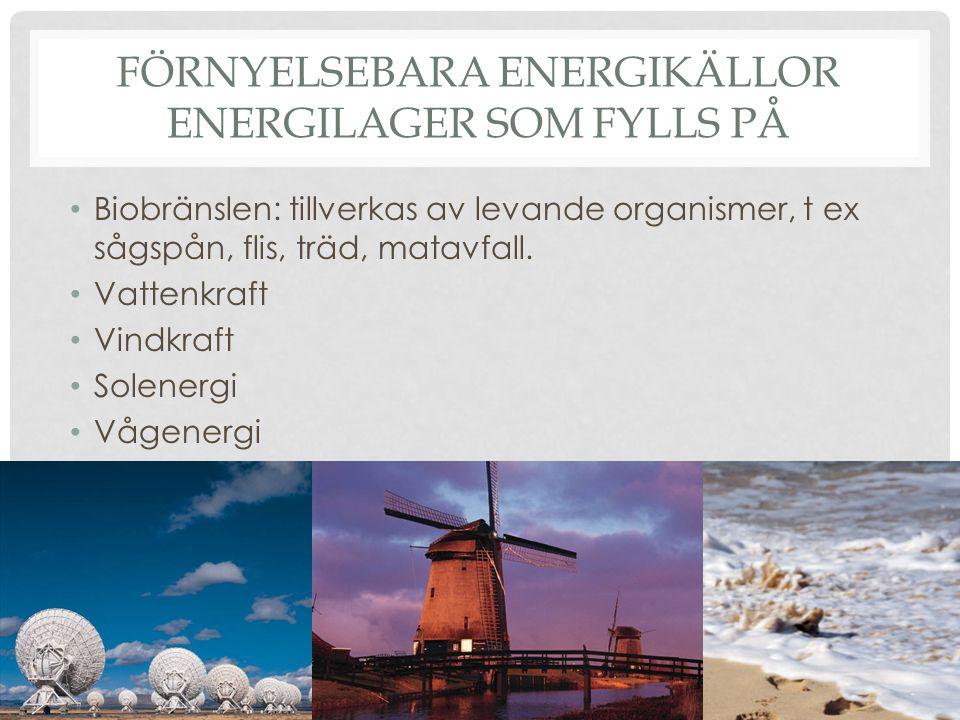 FÖRNYELSEBARA ENERGIKÄLLOR ENERGILAGER SOM FYLLS PÅ Biobränslen: tillverkas av levande organismer, t ex sågspån, flis, träd, matavfall. Vattenkraft Vi