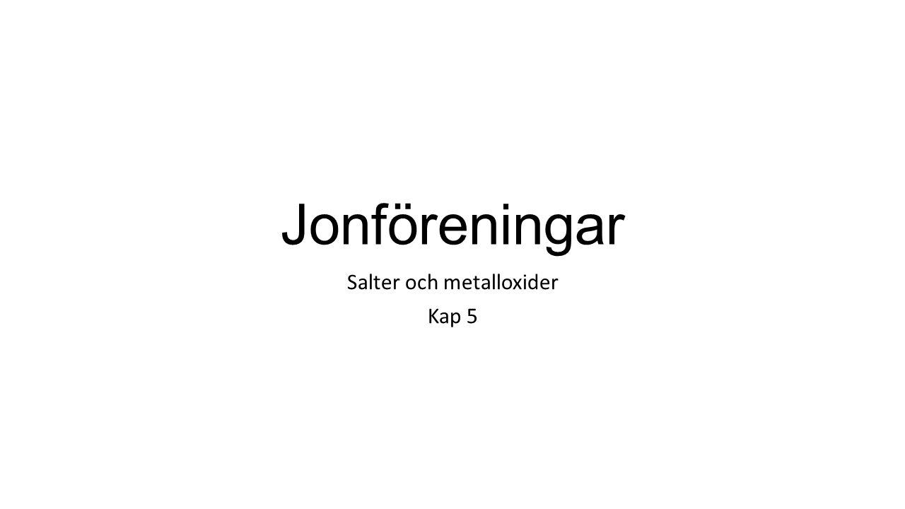 Jonföreningar Salter och metalloxider Kap 5