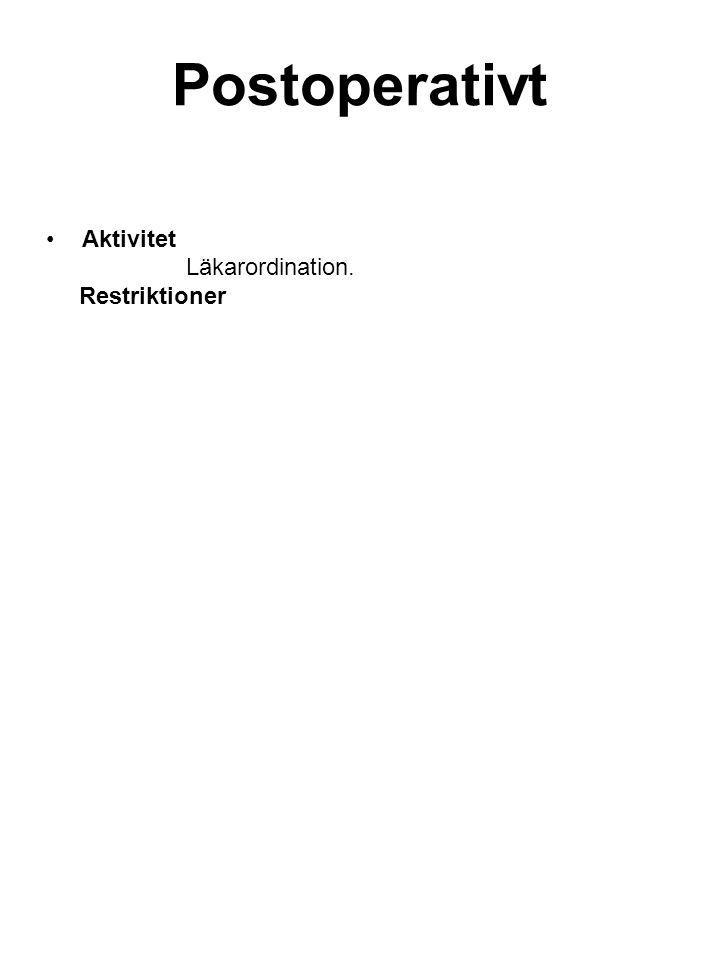 Aktivitet Läkarordination. Restriktioner Postoperativt