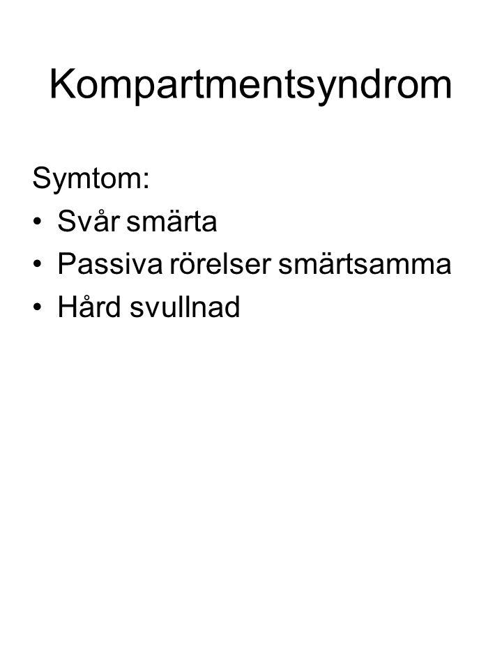 Kompartmentsyndrom Symtom: Svår smärta Passiva rörelser smärtsamma Hård svullnad