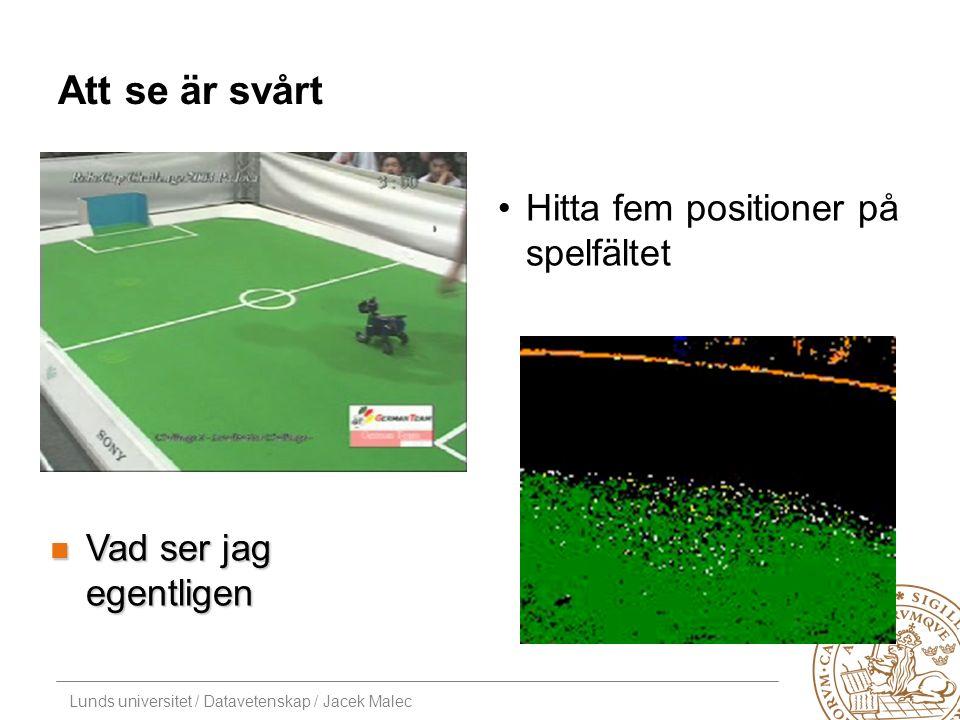 Lunds universitet / Datavetenskap / Jacek Malec Att se är svårt Hitta fem positioner på spelfältet Vad ser jag egentligen Vad ser jag egentligen