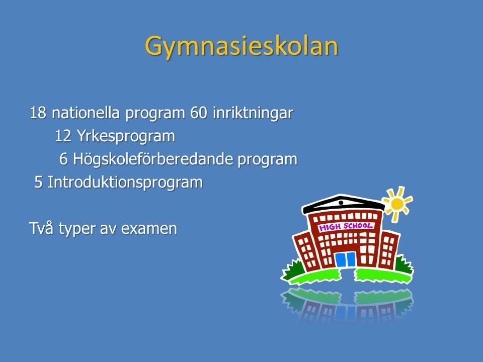Gymnasieskolan 18 nationella program 60 inriktningar 12 Yrkesprogram 12 Yrkesprogram 6 Högskoleförberedande program 6 Högskoleförberedande program 5 I