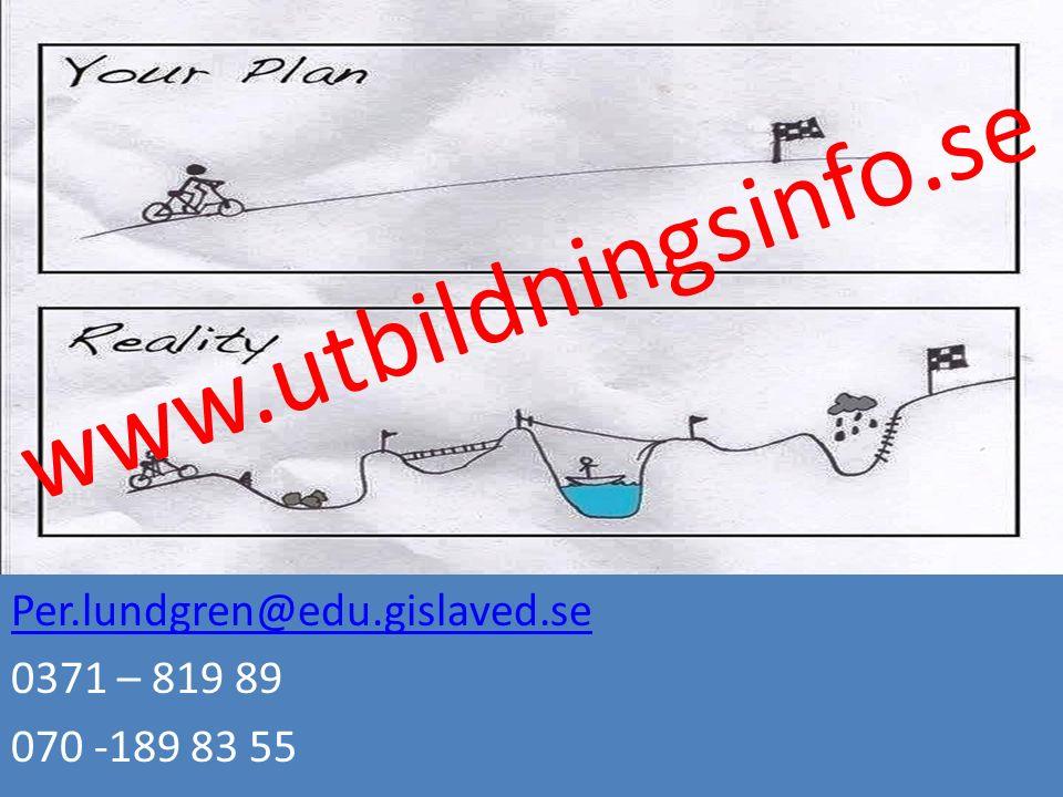 Per.lundgren@edu.gislaved.se 0371 – 819 89 070 -189 83 55 www.utbildningsinfo.se