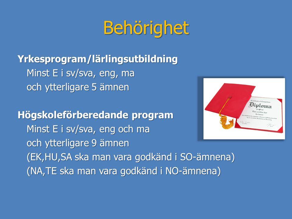 Behörighet Yrkesprogram/lärlingsutbildning Minst E i sv/sva, eng, ma Minst E i sv/sva, eng, ma och ytterligare 5 ämnen och ytterligare 5 ämnen Högskol