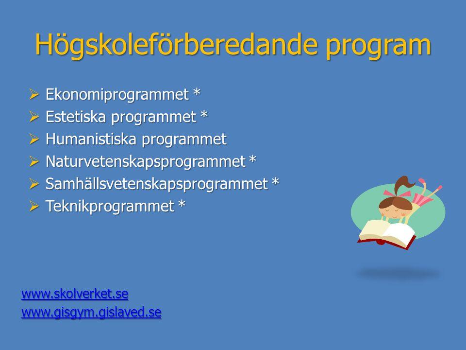 Högskoleförberedande program  Ekonomiprogrammet *  Estetiska programmet *  Humanistiska programmet  Naturvetenskapsprogrammet *  Samhällsvetenska