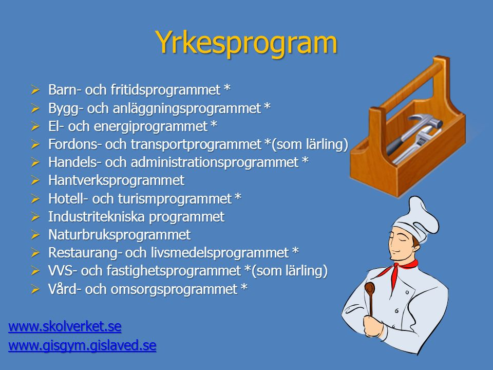 Yrkesprogram  Barn- och fritidsprogrammet *  Bygg- och anläggningsprogrammet *  El- och energiprogrammet *  Fordons- och transportprogrammet *(som