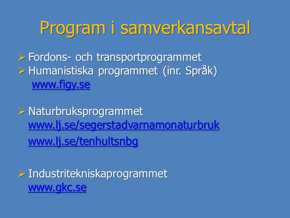 Program i samverkansavtal  Fordons- och transportprogrammet  Humanistiska programmet (inr. Språk) www.figy.se www.figy.sewww.figy.se  Naturbrukspro