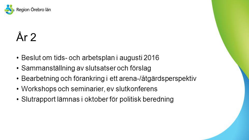 Sv År 2 Beslut om tids- och arbetsplan i augusti 2016 Sammanställning av slutsatser och förslag Bearbetning och förankring i ett arena-/åtgärdsperspek