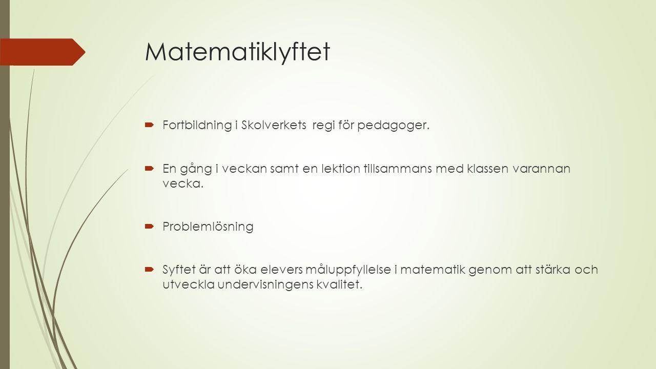Matematiklyftet  Fortbildning i Skolverkets regi för pedagoger.  En gång i veckan samt en lektion tillsammans med klassen varannan vecka.  Probleml