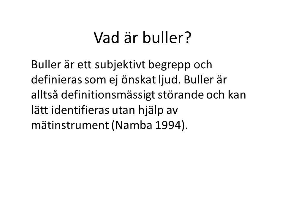 Vad är buller. Buller är ett subjektivt begrepp och definieras som ej önskat ljud.