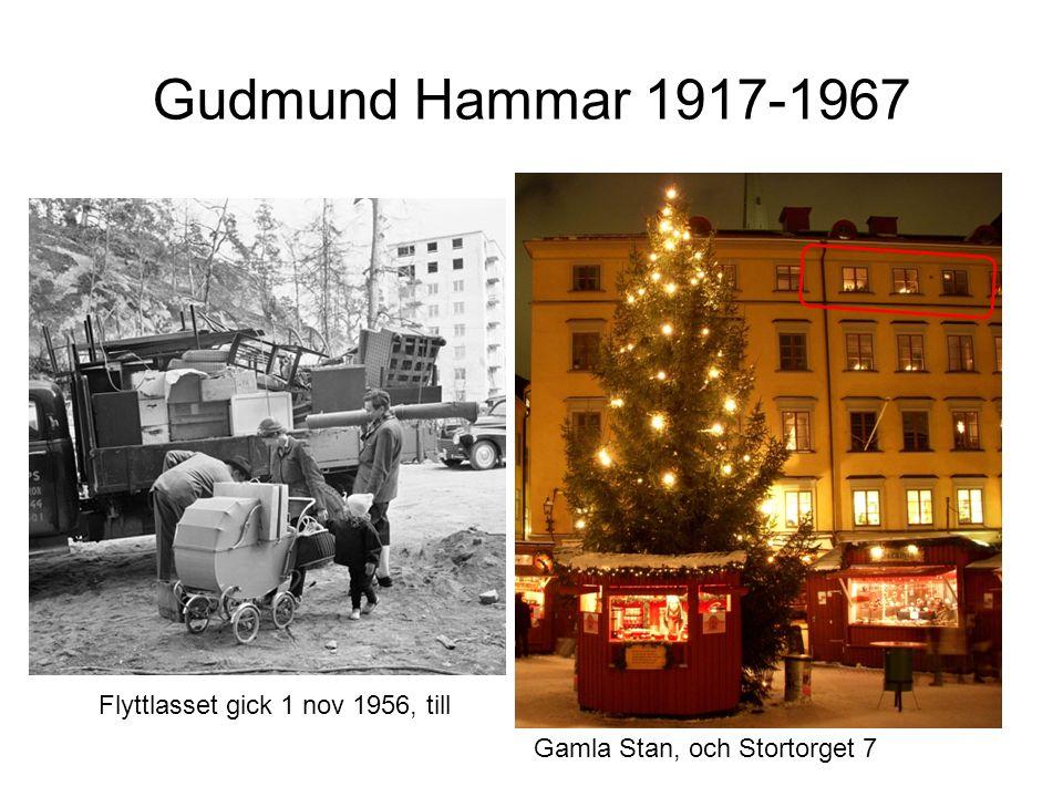 Gudmund Hammar 1917-1967 Gamla Stan, och Stortorget 7 Flyttlasset gick 1 nov 1956, till