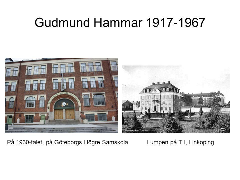 Gudmund Hammar 1917-1967 På 1930-talet, på Göteborgs Högre SamskolaLumpen på T1, Linköping