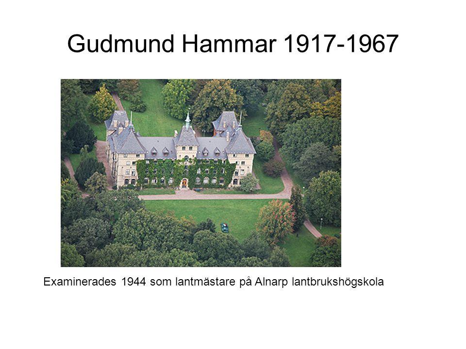 Gudmund Hammar 1917-1967 Examinerades 1944 som lantmästare på Alnarp lantbrukshögskola
