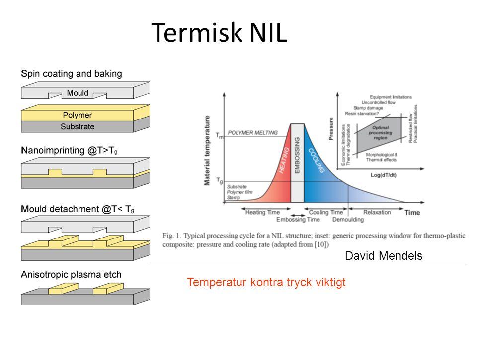 Termisk NIL Stämpel mönster ej helt fyllda  För låg T För kort tid Mönster skiftade  Termisk expansion Bra imprinting Polymerfilm bortsliten  Dålig addesion