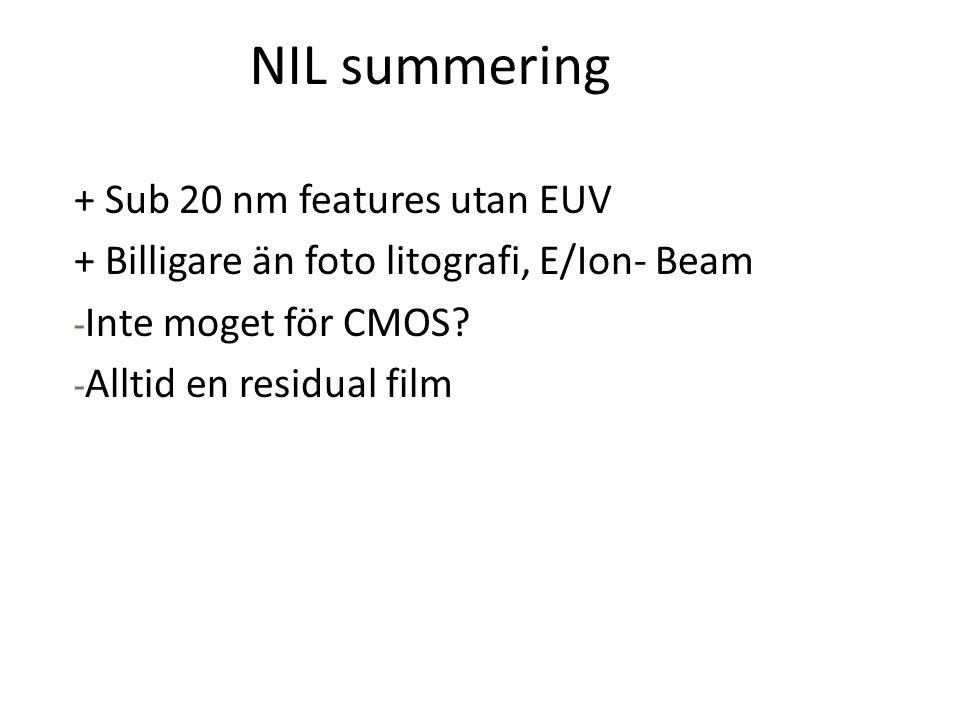 NIL summering + Sub 20 nm features utan EUV + Billigare än foto litografi, E/Ion- Beam - Inte moget för CMOS.