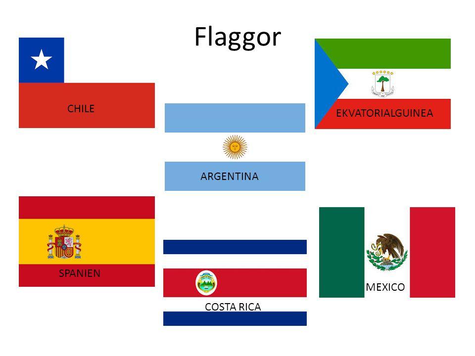 Flaggor CHILE ARGENTINA EKVATORIALGUINEA SPANIEN COSTA RICA MEXICO
