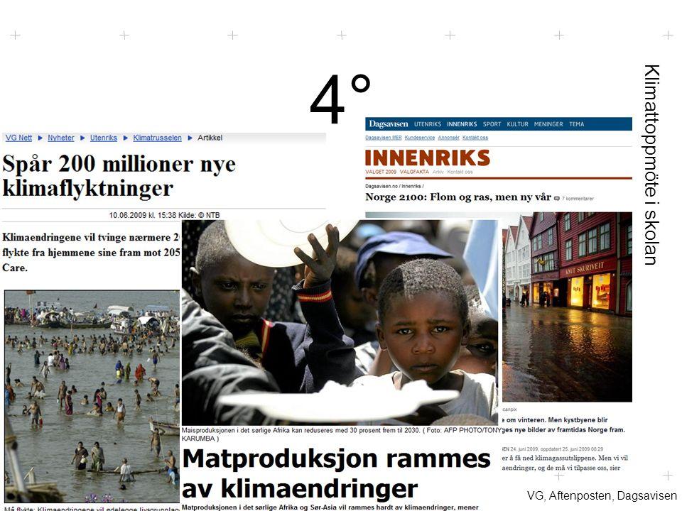 Klimattoppmöte i skolan 4°4° VG, Aftenposten, Dagsavisen