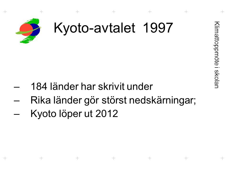 Kyoto-avtalet 1997 –184 länder har skrivit under –Rika länder gör störst nedskärningar; –Kyoto löper ut 2012