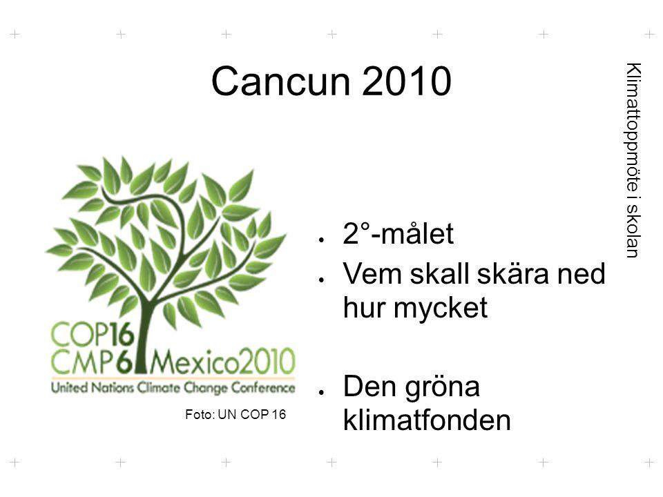 Klimattoppmöte i skolan Cancun 2010  2°-målet  Vem skall skära ned hur mycket  Den gröna klimatfonden Foto: UN COP 16