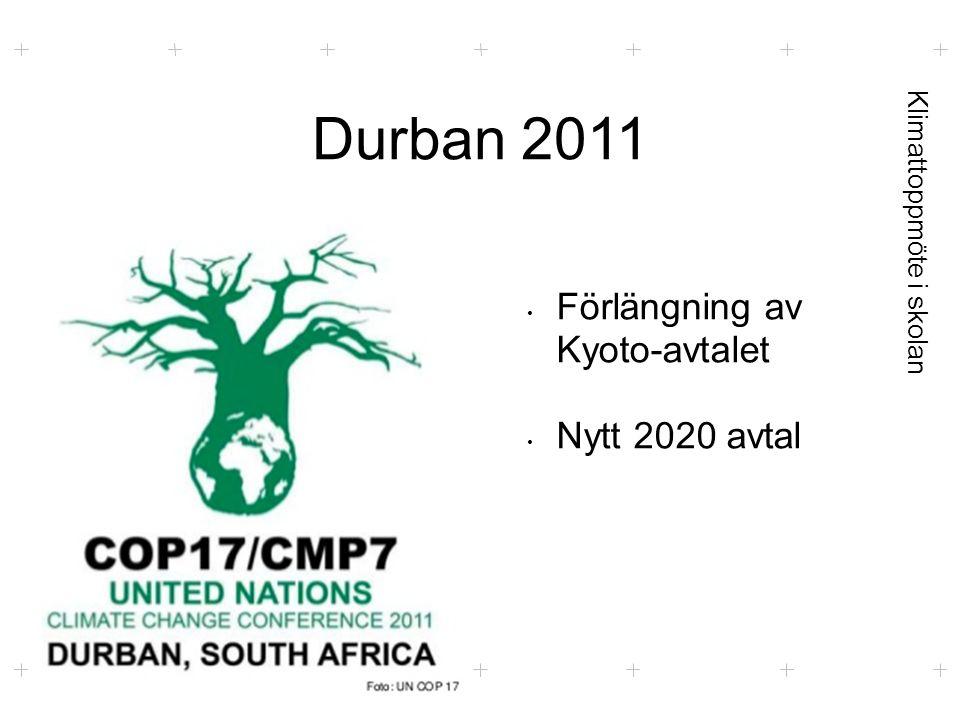Klimattoppmöte i skolan Durban 2011 Foto: UN COP 17 Förlängning av Kyoto-avtalet Nytt 2020 avtal