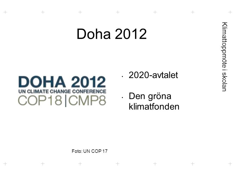 Klimattoppmöte i skolan Doha 2012 Foto: UN COP 17 2020-avtalet Den gröna klimatfonden