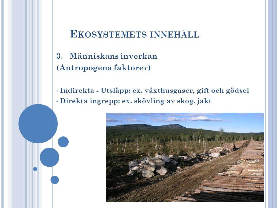 E KOSYSTEMETS INNEHÅLL 3. Människans inverkan (Antropogena faktorer) Indirekta - Utsläpp: ex. växthusgaser, gift och gödsel Direkta ingrepp: ex. skövl