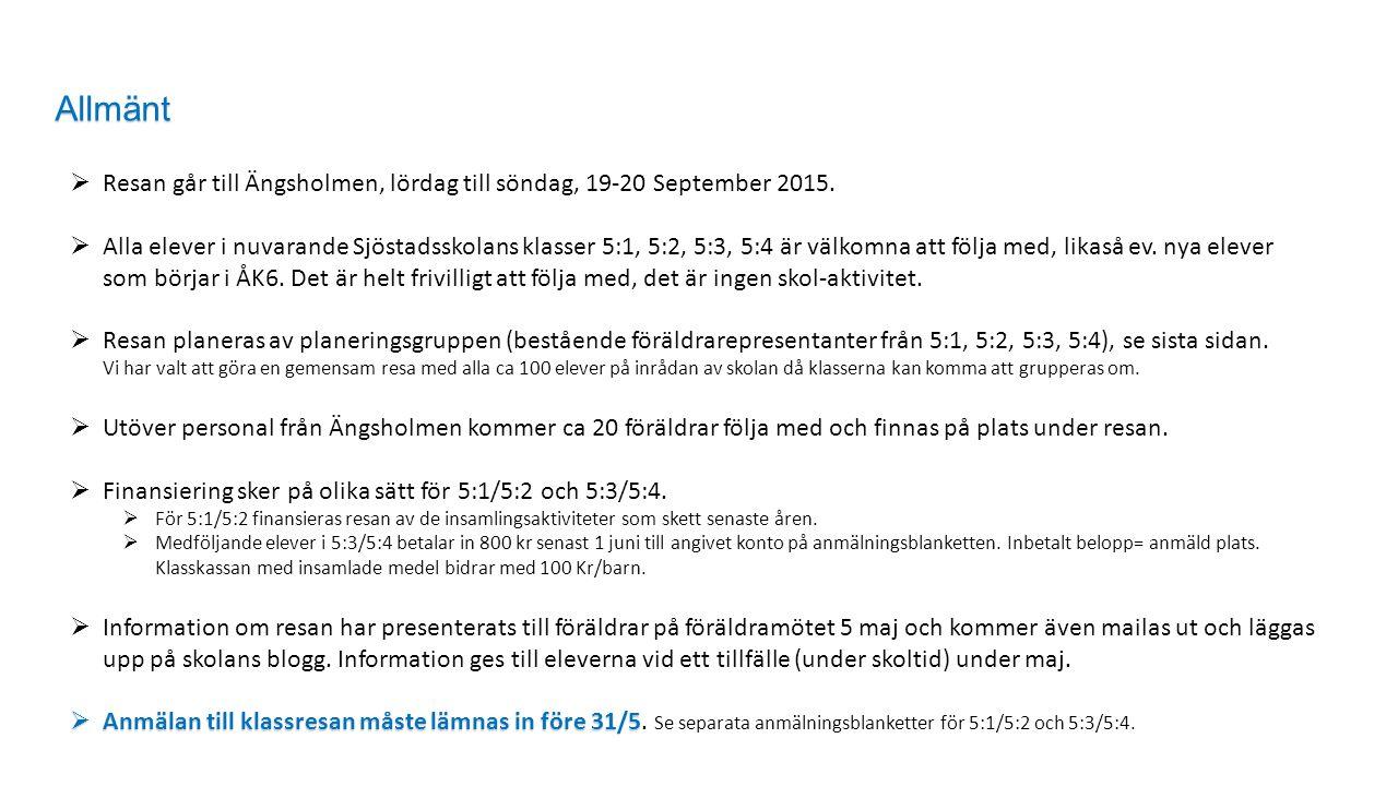  Resan går till Ängsholmen, lördag till söndag, 19-20 September 2015.