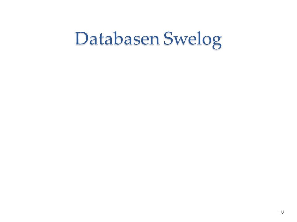 Databasen Swelog 10