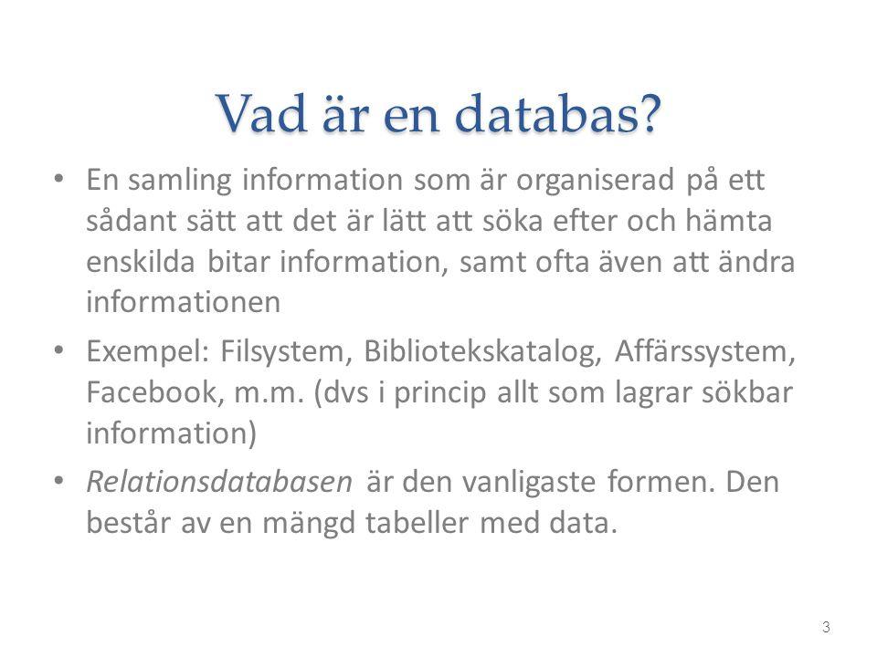 Vad är en databas? En samling information som är organiserad på ett sådant sätt att det är lätt att söka efter och hämta enskilda bitar information, s