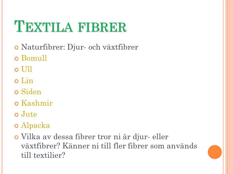 T EXTILA FIBRER Naturfibrer: Djur- och växtfibrer Bomull Ull Lin Siden Kashmir Jute Alpacka Vilka av dessa fibrer tror ni är djur- eller växtfibrer? K