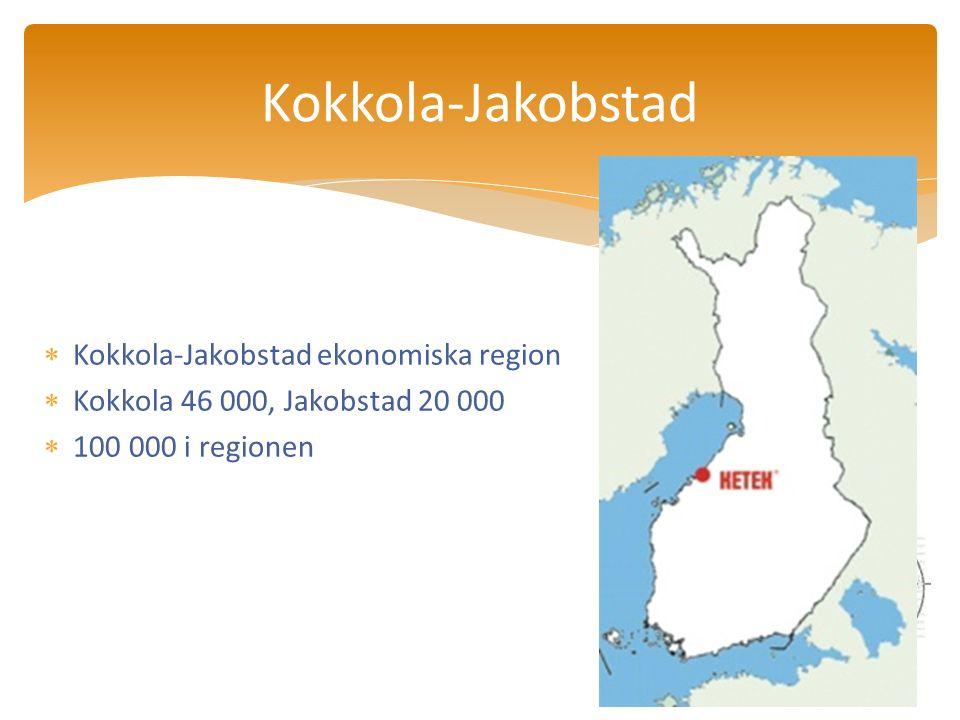  Kokkola-Jakobstad ekonomiska region  Kokkola 46 000, Jakobstad 20 000  100 000 i regionen Kokkola-Jakobstad