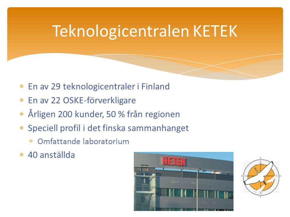  En av 29 teknologicentraler i Finland  En av 22 OSKE-förverkligare  Årligen 200 kunder, 50 % från regionen  Speciell profil i det finska sammanhanget  Omfattande laboratorium  40 anställda Teknologicentralen KETEK