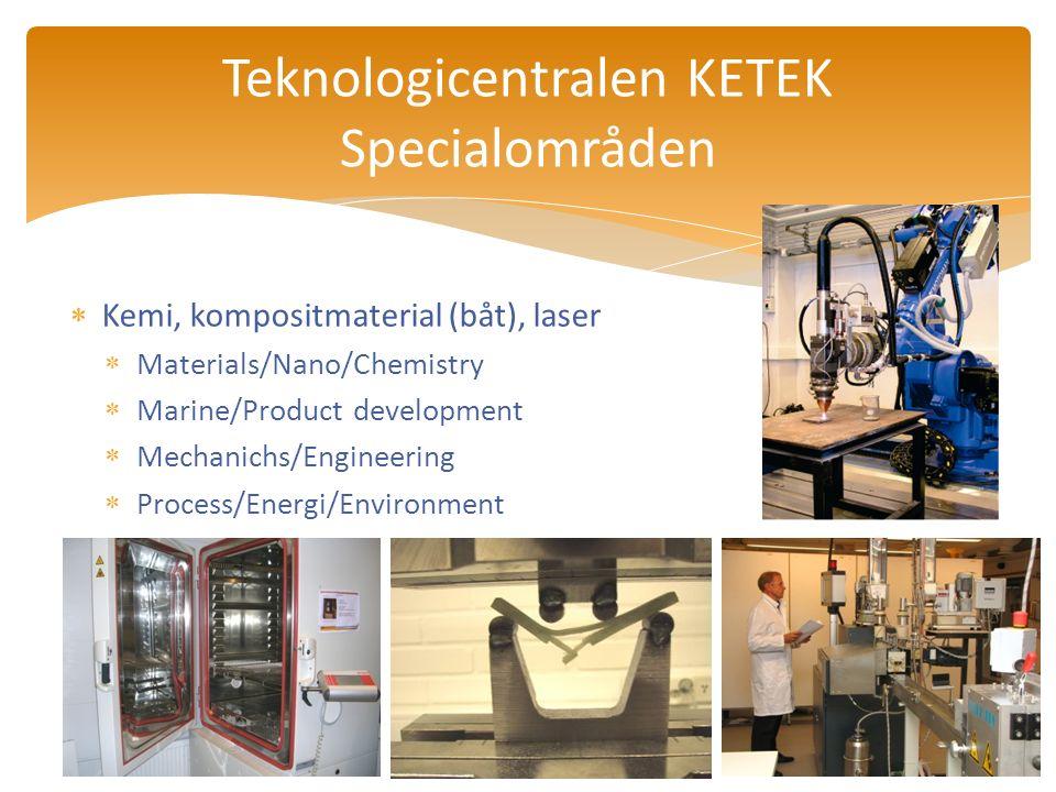  Kemi, kompositmaterial (båt), laser  Materials/Nano/Chemistry  Marine/Product development  Mechanichs/Engineering  Process/Energi/Environment Teknologicentralen KETEK Specialområden