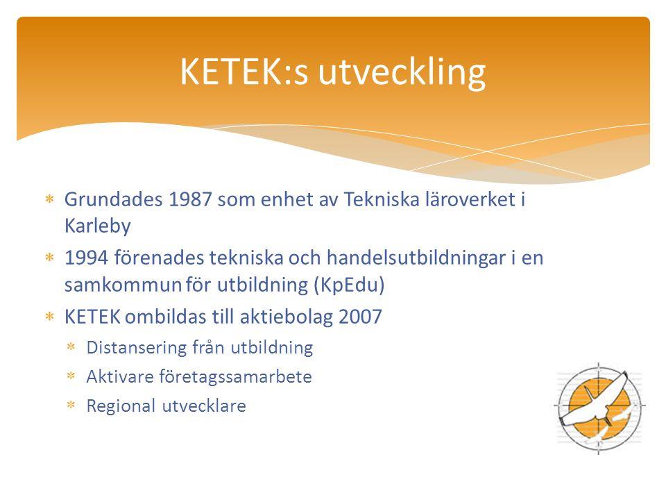  Grundades 1987 som enhet av Tekniska läroverket i Karleby  1994 förenades tekniska och handelsutbildningar i en samkommun för utbildning (KpEdu)  KETEK ombildas till aktiebolag 2007  Distansering från utbildning  Aktivare företagssamarbete  Regional utvecklare KETEK:s utveckling