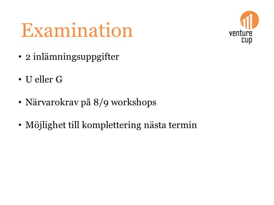 Examination 2 inlämningsuppgifter U eller G Närvarokrav på 8/9 workshops Möjlighet till komplettering nästa termin