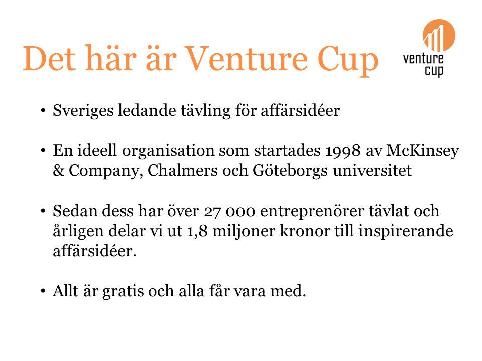 Det här är Venture Cup Sveriges ledande tävling för affärsidéer En ideell organisation som startades 1998 av McKinsey & Company, Chalmers och Göteborg